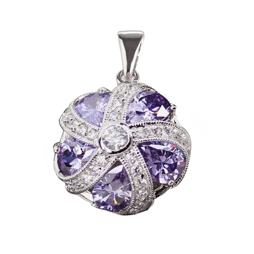 Silver Plated Pendant Fashion Jewelry Amethyst Cubic Zirconia round Wholesale PR4a51 Vintage The new listing Promotion