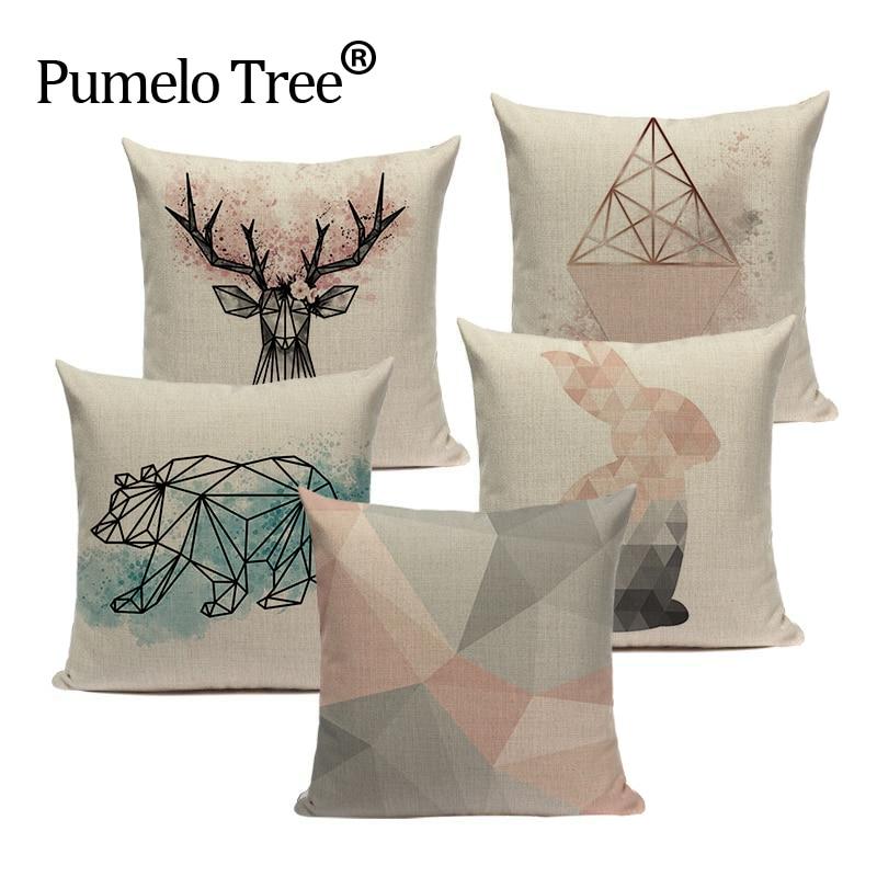 2019 Nordic Pop Geometry Cushion Cover Home Decorative Pillows Animals Car Sofa Throw Pillows Linen Print Custom Pillowcase