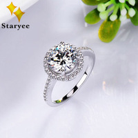 Solid 14K White Gold 1CT Charles Colvard Forever One Moissanite Halo Engagement Wedding Ring For Women Natural Diamond Accents