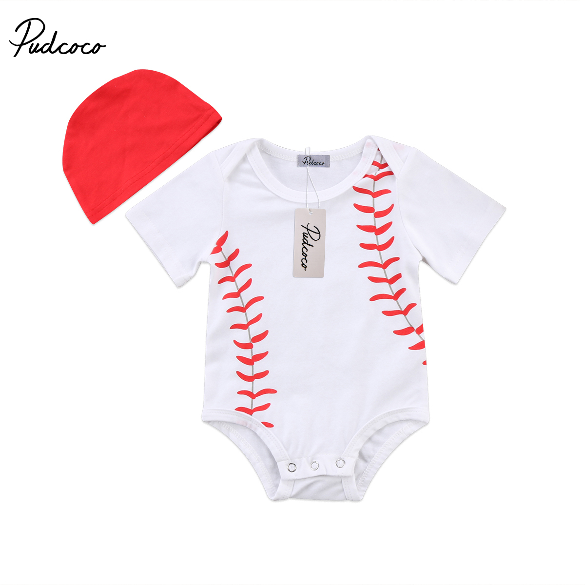 Helen115 Lovely baby girl clothes baby boy clothes Short Sleeve Bodysuit+Hat Outfits Set 0-24M