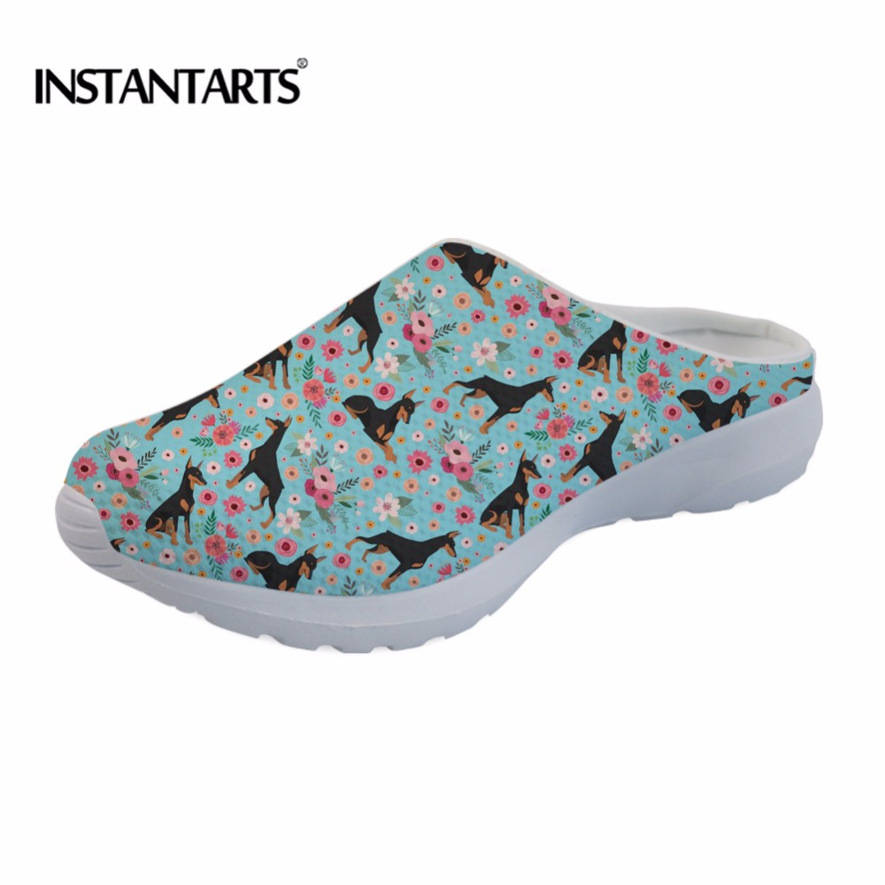 INSTANTARTS 2018 Women Summer Beach Sandals Cute Doberman Dog Flower Pattern Female Air Mesh Sandales Home Outside Slippers Lady