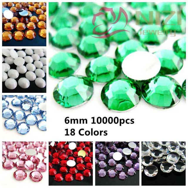 e9f33b36122b 10000pcs ss30 6mm Resin Rhinestones Flatback Many Colors  01- 18 Silver  Foiled Round Shape Non Hotfix Scrapbooking Beads DIY