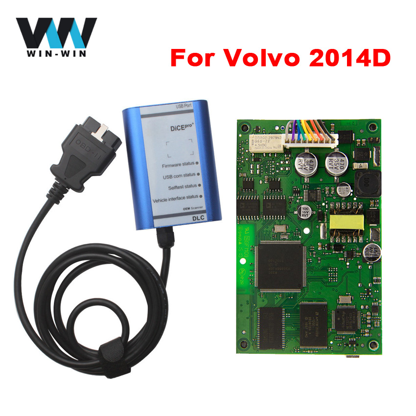 Цена за Для Volvo DICE Pro + 2014D Полный Чип OBD2 Диагностический Инструмент Кости 2014D Обновление Прошивки и Самодиагностики С Многоязычная Сканер