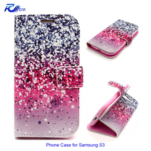 New Product Mobile Phone Case for 4.8″ Samsung S3 Colored Printed Leather Phone Case with Card Holder Magnet Closure