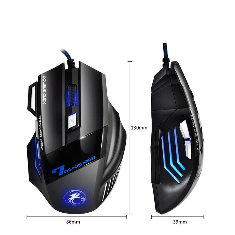 BEESCLOVER Professional Wired Gaming Mouse 7 Button 5500 DPI LED Optical USB Computer Mouse Game Mouse Silent Mause for PC Black