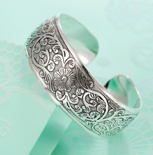 ethnic silver plated flower bangles 2015 new retro girls cuff bracelet lady's hand jewelry retail wholesale good quality hot d05