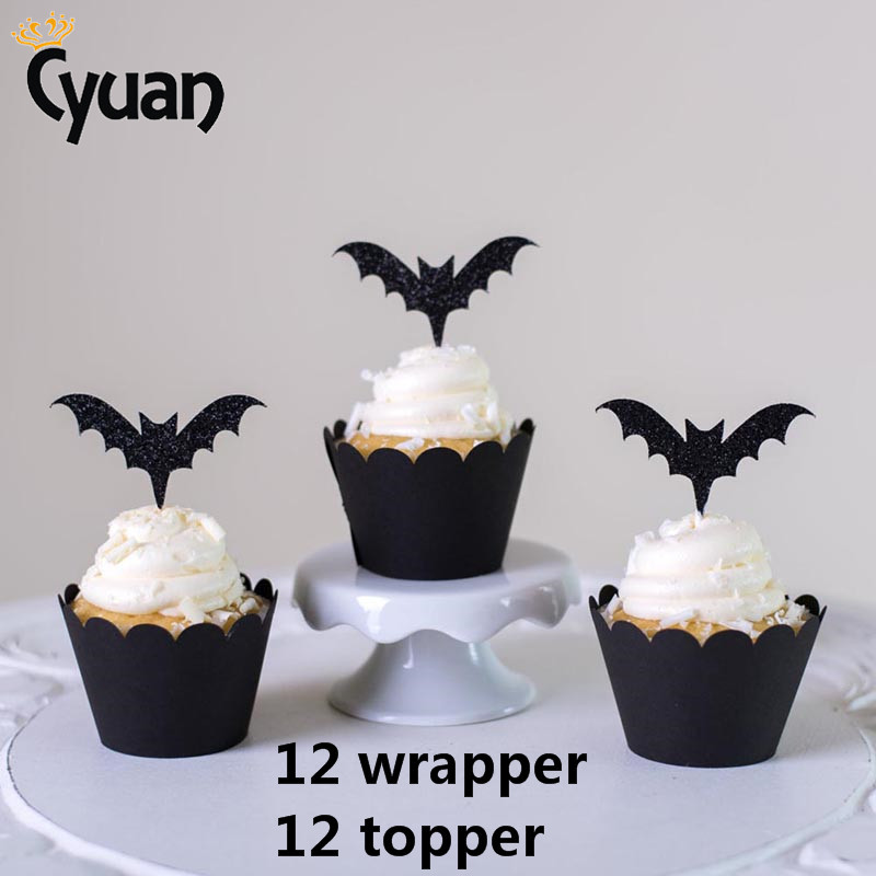 Astounding Halloween Cake Toppers Bat Cupcake Wrappers Party Cake Decorating Funny Birthday Cards Online Fluifree Goldxyz