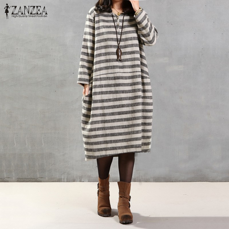 ZANZEA Women 2017 Fall Casual Loose Dress V Neck Long Sleeve Stripe Print Oversized Mid-Calf Dress Vestidos Plus Size S-5XL