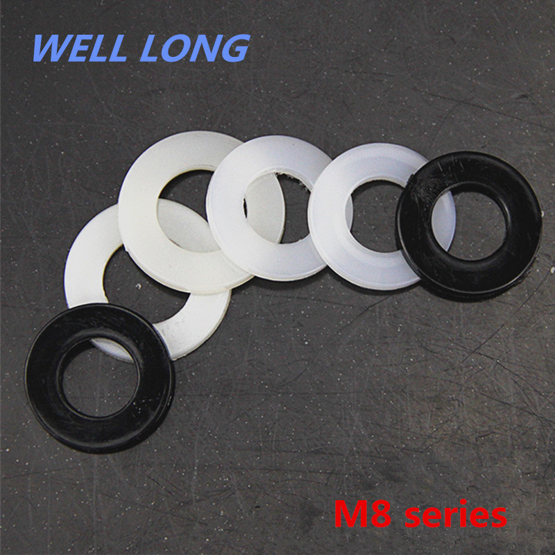 500pcs/lot Nylon Screw Gasket Insulation Plastic Flat Pad Plastic Washer,M8. цена