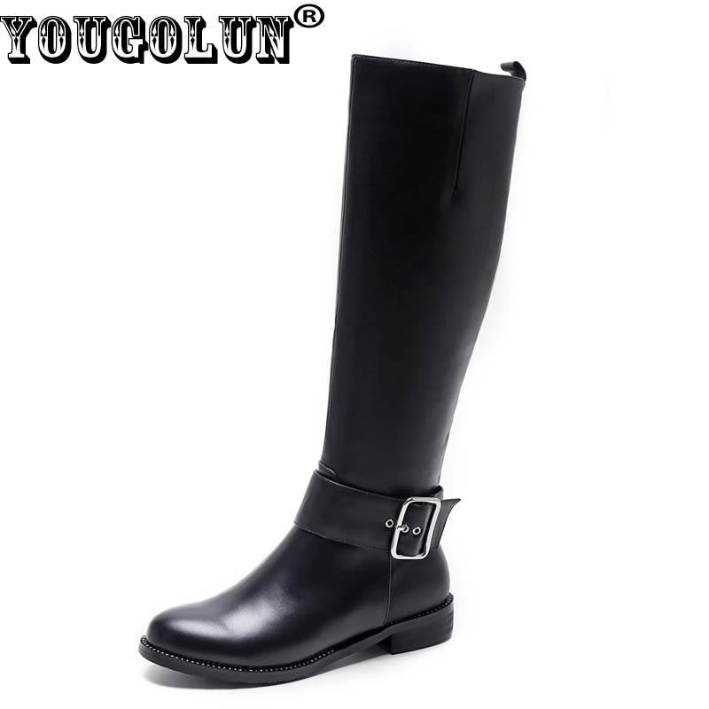 YOUGOLUN Women Knee High Boots 2017 New Winter Genuine Leather Low Heel 3 cm Square Heels Black Buckle Crystal shoes #Y-203 yougolun women fashion knee high boots woman buckle winter thigh high boots women s genuine leather boots low heels heel shoes