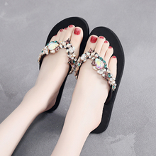 2019 Fashion Women Slippers Crystal Flip Flops Flat Shoes Summer Black/Green/Red Female Shoes Casual Lady Shoes Woman Footwear hot sale 2016 summer woman shoes rhinestone flat woman shoes fashion casual shoes wild concise female flip flops dt194