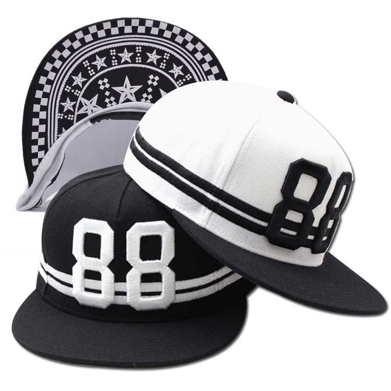 894fd711579 Black White 88 3D Letters Embroidery Hip Hop Cap 2018 New Fashion Men  Women s Baseball Caps