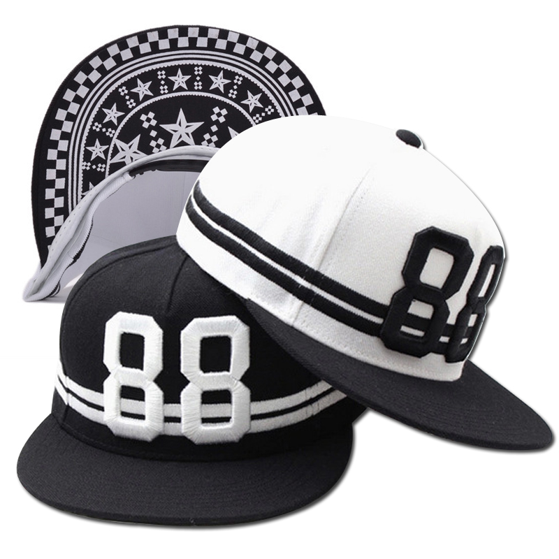 Black White 88 3D Letters Embroidery Hip Hop   Cap   2018 New Fashion Men Women's   Baseball     Caps   Snapback Hats Outdoor Sports Street