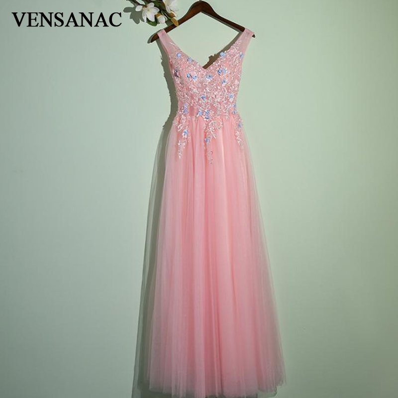VENSANAC 2018 V Neck Crystal A Line Flowers Appliques Long Evening Dresses Elegant Lace Backless Party Prom Gowns in Evening Dresses from Weddings Events