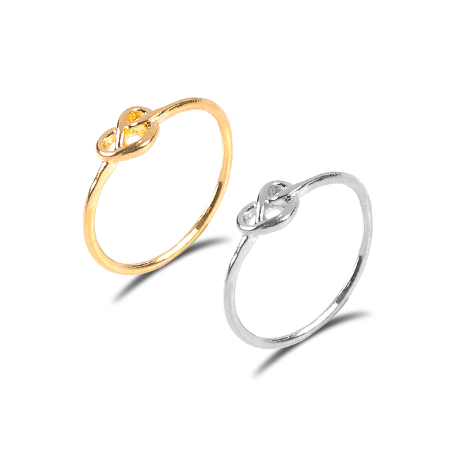 gold silver color Knot heart ring Wedding Rings For Women Square alloy Jewelry B