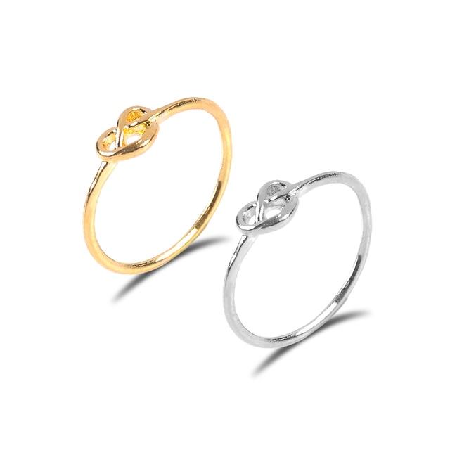 Oro argento colore Knot anello cuore Anelli di Cerimonia Nuziale Per Le Donne Mo