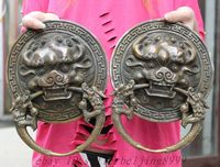 Chinese Old 10 Folk Chinese Copper Bronze Guardian Lion Head Statue Temple Door Knocker Pair Decoration