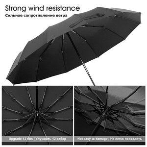 Image 4 - Hot Koop Merk Regen Paraplu Mannen Kwaliteit 12 RIBBEN Sterke Winddicht Glasvezel Frame Houten Lange Steel Paraplu vrouwen Parapluie