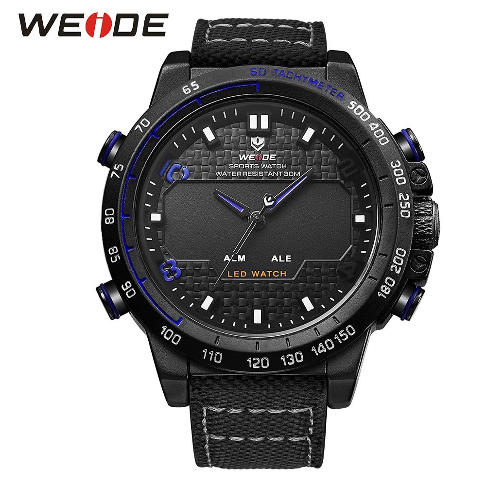 ФОТО WEIDE Watches Men Luxury Brand Sports Military Watch Nylon Strap Big Dial 3ATM Waterproof Analog LED Display Men's Quartz Watch