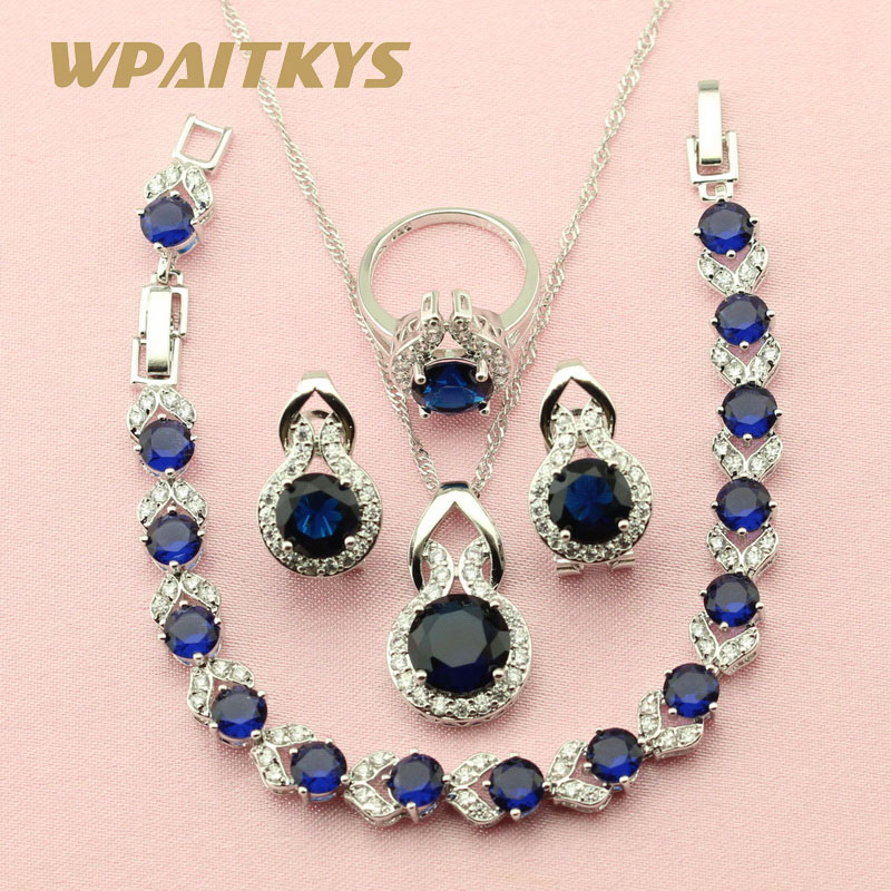 WPAITKYS Round Dark Blue Stone Silver Color Jewelry Sets For Women ...