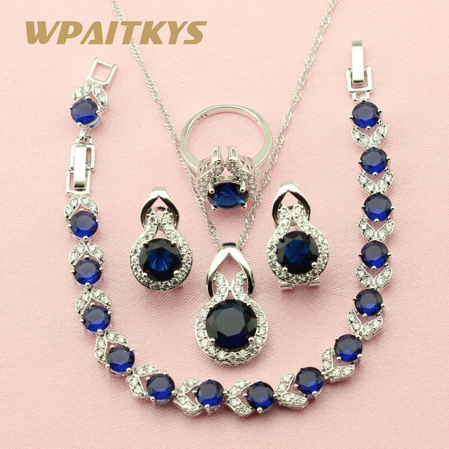 WPAITKYS Round Dark Blue Stone Silver Color Jewelry Sets For Women
