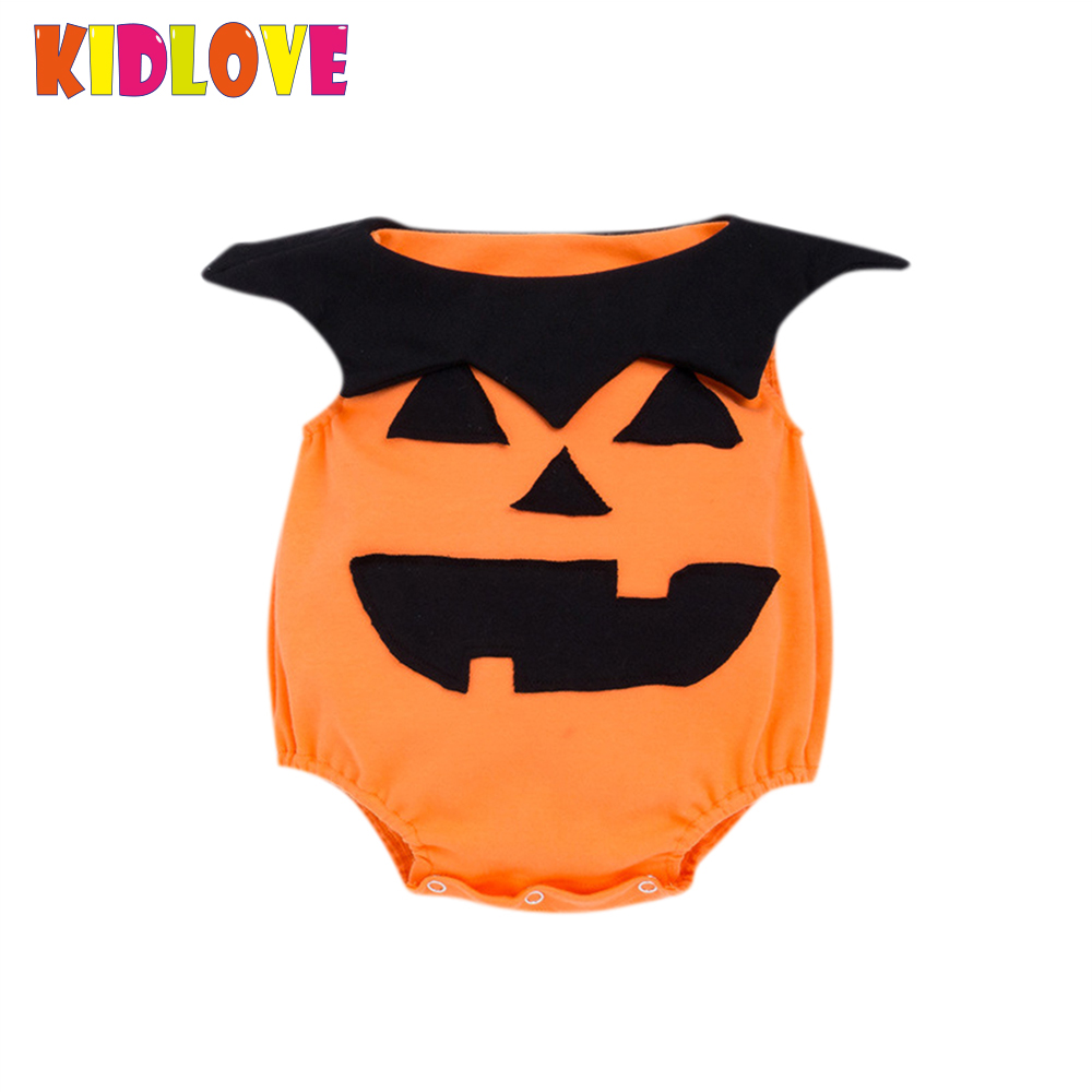 KIDLOVE Toddler Kids Baby Girls Boys Romper Sleeveless Round Neck Lapel Halloween Pumpkin Pattern Romper Bodysuit Jumpsuits ZK35