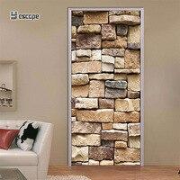3D door sticker Stone brick pattern self adhesive Decoration Living room Wall Sticker Home Door DIY Mural Decor Decal sticker