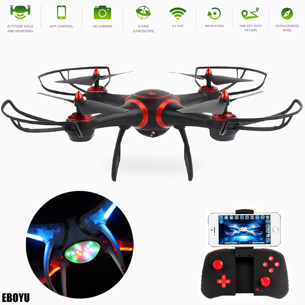 EBOYU S7 2.4Ghz WiFi FPV Drone with Unique Colorful LED Flash Lights Altitude Hold One-Key Return RC Quadcopter Drone image