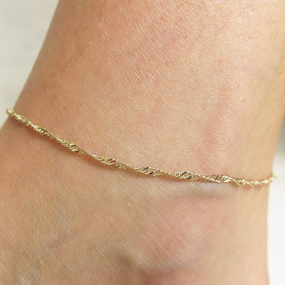 dainty gift on wanelo shop anklet gold bracelet initial personalized ankle heart