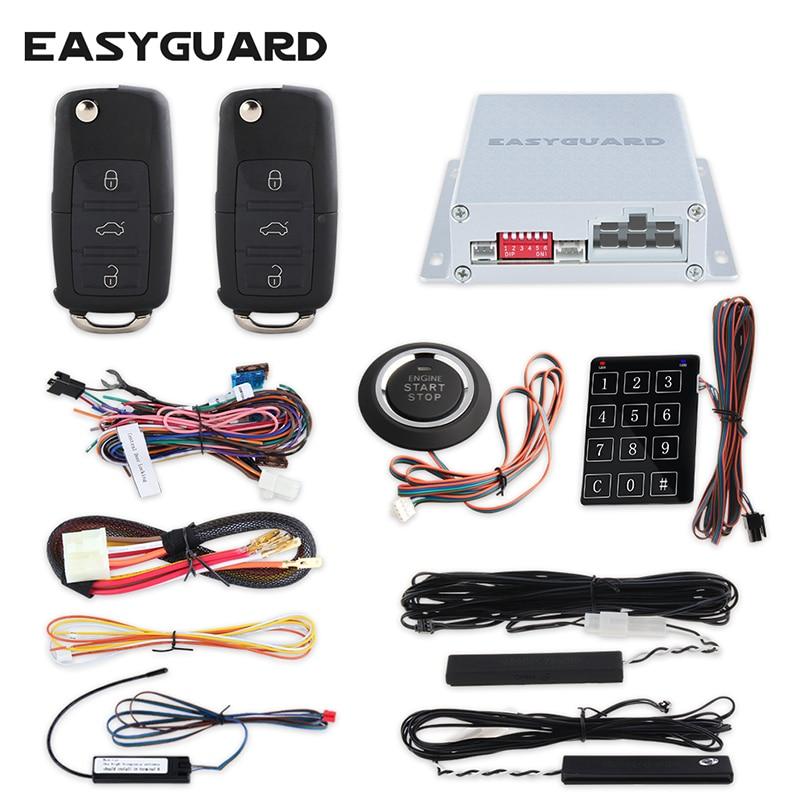 EASYGUARD PKE ավտոմեքենաների ազդանշանային համակարգ ՝ մեկնարկի շարժիչի կոճակով հեռավոր կենտրոնական կողպեքի համակարգով հեռավոր շարժիչը սկսում է առանց ստեղնաշարի անցնել գաղտնաբառ մուտքագրումը