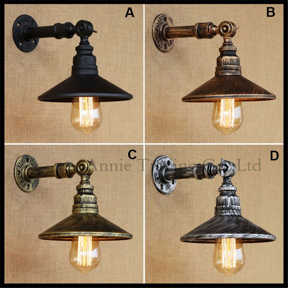 Nordic Europe style industrial stairs home water pipe decor wall lamp restaurant bar Rustic ...