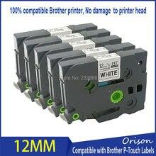 12 мм TZ231 черный на white label Клейкие Ленты Совместимость для Brother P-Touch TZ-231 tze231 TZe-231 TZ231 Label Maker 5 шт.