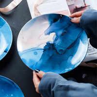 8 Inch Nordic Round Ceramic Plate Irregular Strip Porcelain Dinner Plate Dessert Steak Dishes Tray Houselhold Party Dinnerware