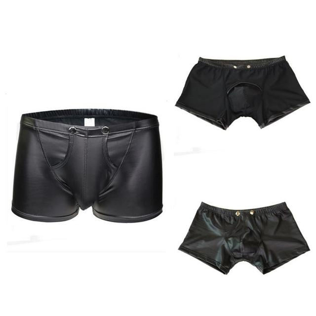 NEW HOT SALES Men Trunks Sexy Patent Leather Underwear U-shape Bulge Boxer Briefs Shorts Pouch Soft Underpants