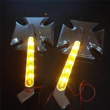 For Motorcycle Harley Springer CHROME LED Turn signal Maltese Cross style mirrors