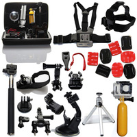 GoPro Accessories Set Monopod Pole Floating Head Chest Mount Kit with Case for Go pro Hero4 Hero HD 4 3+ 3 2 1 Xiaomi Yi Camera