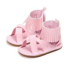 Детские сандалии для девочек летнее, для малыша для маленьких девочек мягкие кроватки обувь не скользящие детские пинетки сандалии для девочек на возраст от 0 до 18 месяцев