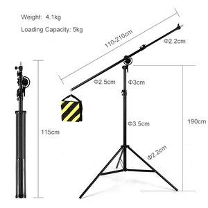 """Image 3 - Soporte de luz 2 en 1 de 126 """"y 320cm, brazo de soporte, soporte de luz de brazo de trípode ajustable de aluminio giratorio con bolsa de arena para fotografía de estudio"""