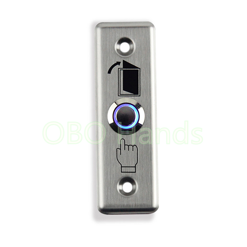 Free Shipping Stainless Steel Door Exit Button Switch With LED Blue Backlight Emergency Push Button Switch For Home Security