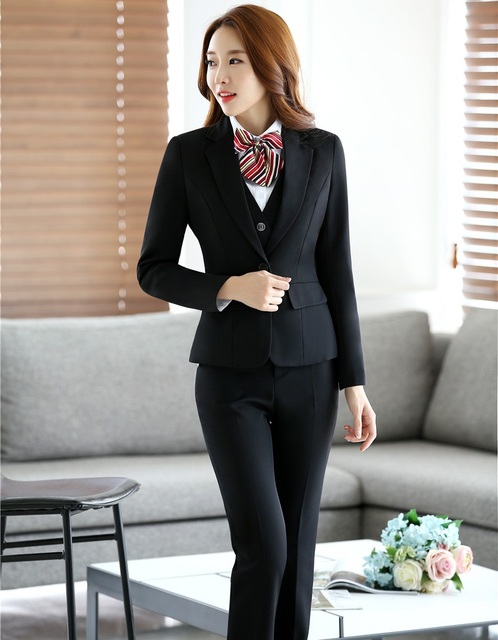 Novidade Preto Pantsuits Formais Profissional Com Conjuntos de Jaquetas E Calças Outono Inverno Calças Das Senhoras Escritório Trabalho Desgaste Blazers