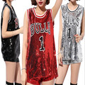 High Quality 2016 Women Beyonce Bulls 1 Sequined Jerseys Girls Casual Tops Pole Dance/Disco/Jazz Dance/Hip-hop T Shirt
