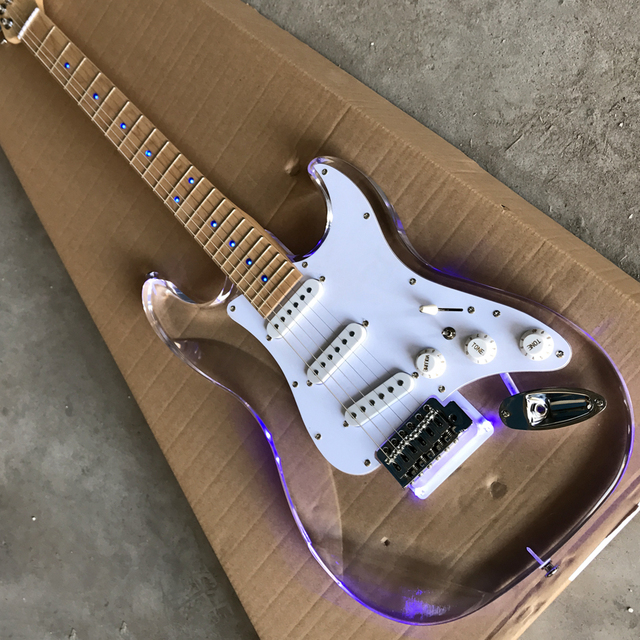 New style high quality custom ST electric guitar, Maple fingerboard acrylic body with light ST electric guitar, free shipping