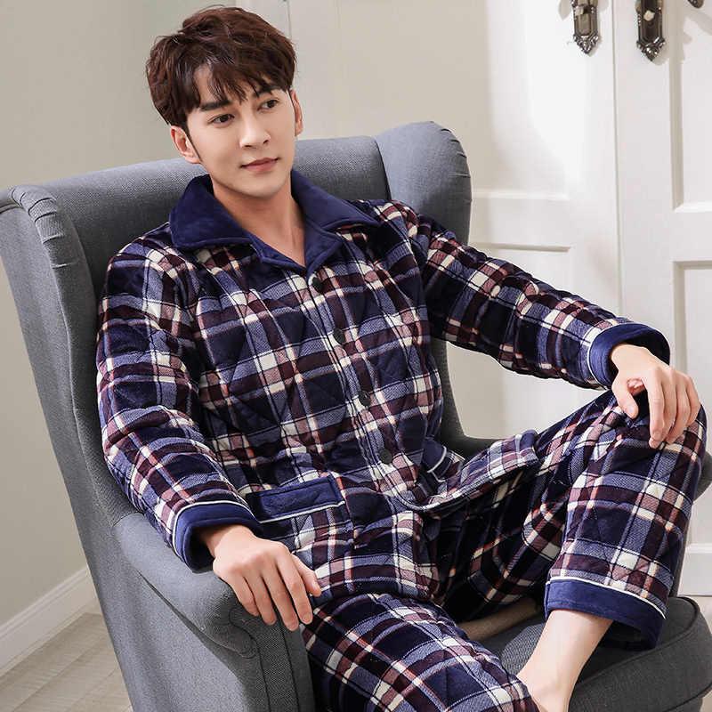 3 레이어 두꺼운 겨울 누비 이불 잠옷 nightshirt 산호 벨벳 pijamas hombre inverno 남성 격자 무늬 남성 자켓 플러스 사이즈 suit3xl