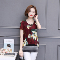 2017 Summer Women Blusa Femme Fake 2 Pieces Printed Shirts Red Short Sleeves Tops Green Floral