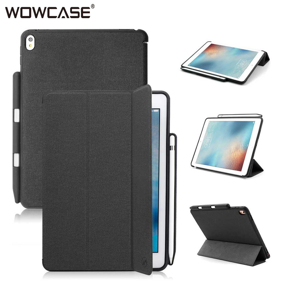 quality design 668af c5d48 US $15.99 20% OFF|WOWCASE For iPad Pro 9.7 Case Apple Pencil Holder Case  Twill PU Leather Protector Slim Smart Back Cover For iPad Pro 9.7