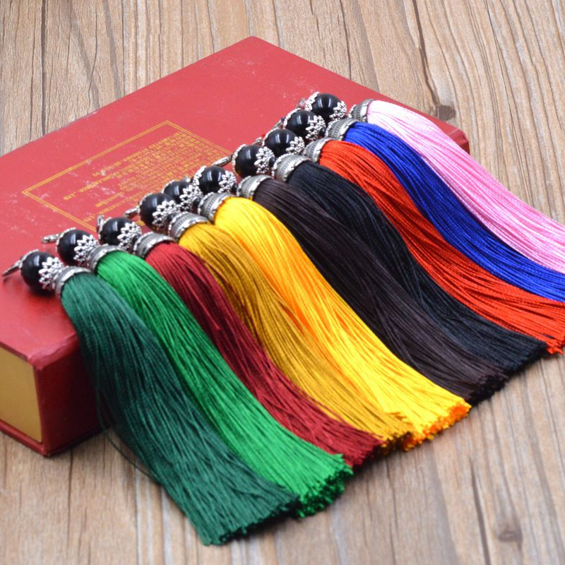 Red Blue Yellow Polyester Silk Tassel With Black Bead Lobster Clasps for Jewelry Making Findings Components Bag Car Decoration
