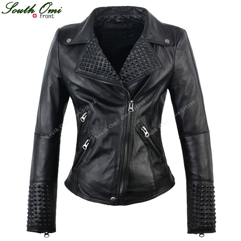 Black Rivet/Stud Leather Jackets Punk Jack Female ...