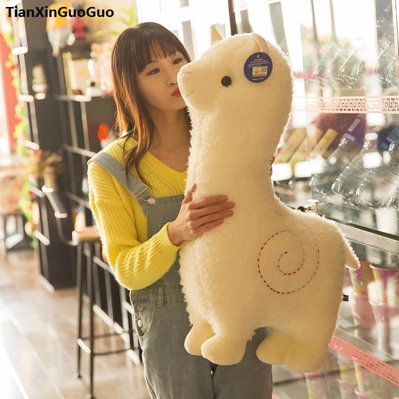 Grand 65 cm belle bande dessinée alpaga en peluche jouet mignon mouton blanc doux poupée jeter oreiller cadeau d'anniversaire s0542