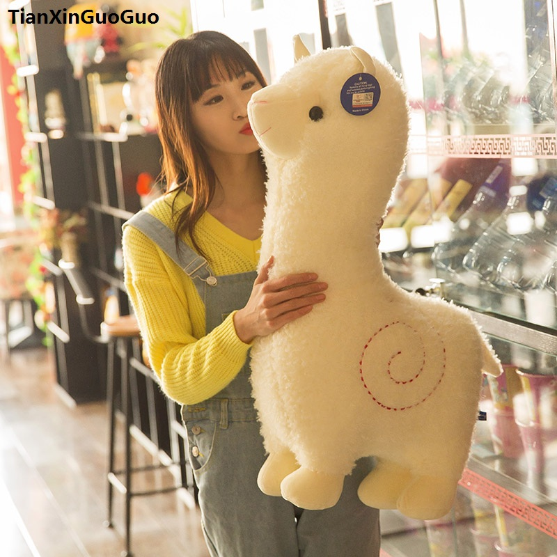 large 65cm lovely cartoon alpaca plush toy font b cute b font white sheep soft doll