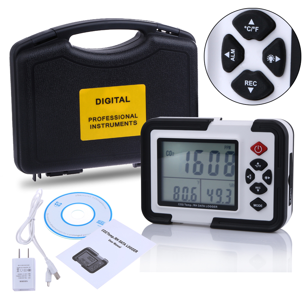 9999ppm Carbon Dioxide CO2 Monitor Detector Air Temperature Humidity Logger 9999ppm carbon dioxide co2 monitor detector air temperature humidity logger